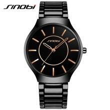 Sinobi classic causal hombres relojes de pulsera de acero inoxidable venda de reloj de los hombres de primeras marcas de lujo de ginebra de cuarzo reloj caballeros reloj