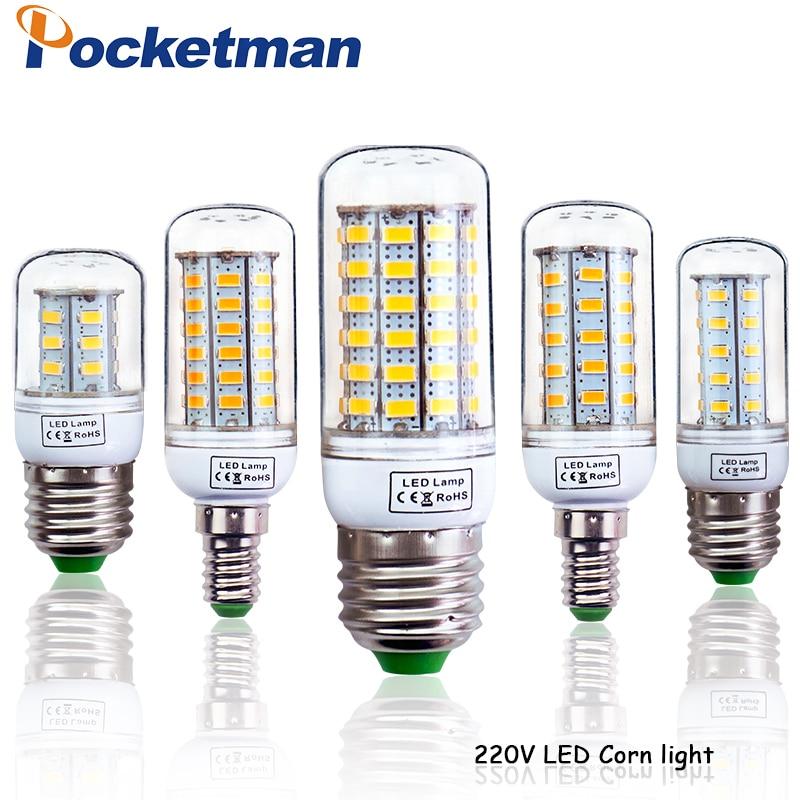 LED Bulb Corn E27 E14 220V LED Light SMD5730 Mini Smart IC LED Lamp Light 24/36/48/56/69/72LEDs Chandelier Home Decoration