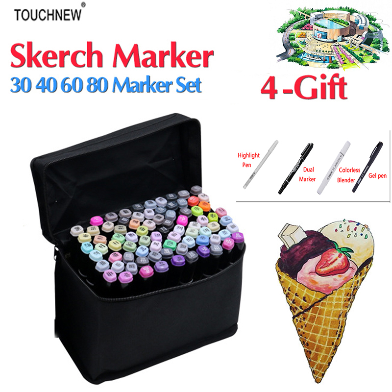 Touchnew 168 Colors Drawing Marker For Gifts Alcohol Based Dual Head Sketch Artist Marker Set For Animation Manga Design touchnew 80 colors artist dual headed marker set animation manga design school drawing sketch marker pen black body