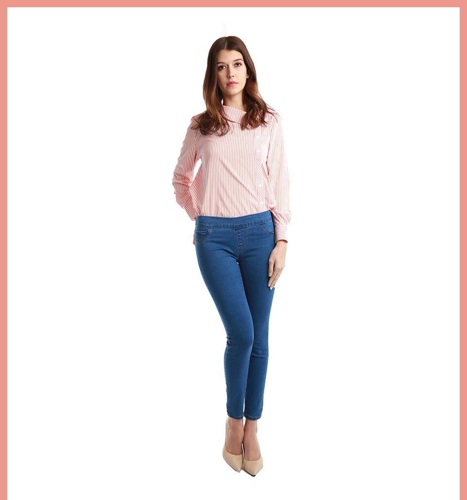 Autumn Winter minimalist Women Denim Skinny Stretch Fake Front Pocket Medium Waist Washed Blue Slim Elastic Lady Jeans 3