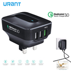 URANT USB Charger Quick Charge 3.0 Wall Charger UK Plug QC3.0 QC Fast Charging Travel Chargers For Mobile Phone Tablet