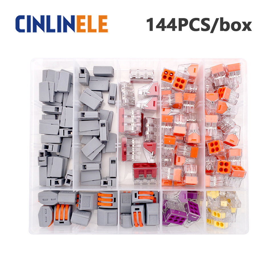 144pcs/box 4-room-set  fast WAGO Connector set Mixed Models Universal Compact Wire Wiring Connector Conductor Terminal Block remasters box 4 compact disc set cd
