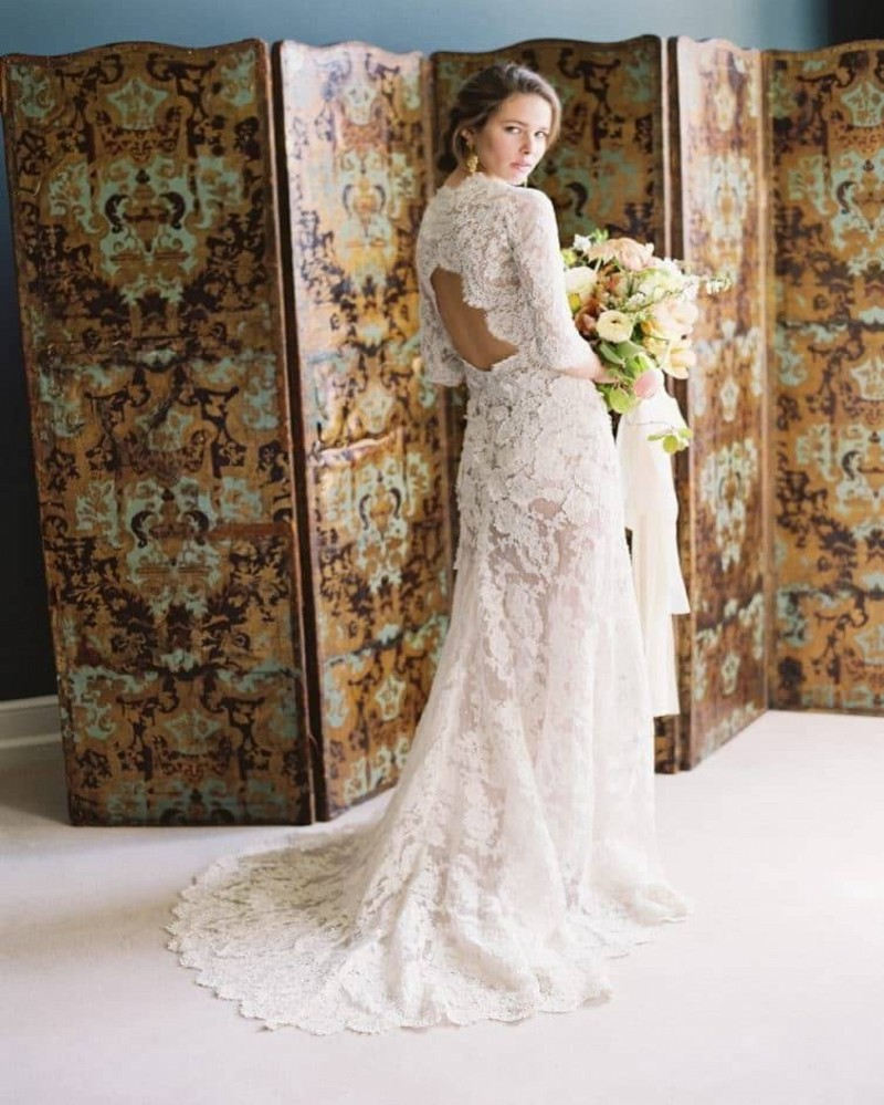 2019 Vintage Lace Long Sleeve Wedding Dress Sexy See Through Lace Backless Boho Beach Muslim Wedding Dresses