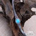 La joyería de plata negro venta al por mayor 925 joyas de plata con incrustaciones con turquesa femeninos marcasita pulsera xh052568