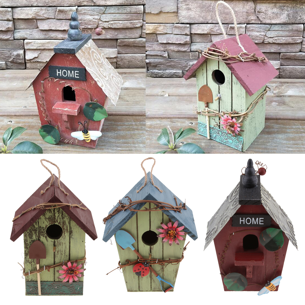 3Pieces/Set Hand-painted Wooden Birdhouse With Jute Cord Home Garden Table Outdoor Garden Decoration Home For Birds