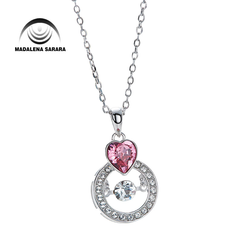 MADALENA SARARA AAA Synthetic Quartz Stone Smart Rotation Fashion Red Heart Pendant Necklace S925 Chain Necklace