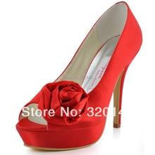 Elegant Brand Pumps EL10024-PF Red Peep Toe Handmade Flower Stiletto Heel Platform 4inch Ultra High Heel Women Wedding Shoes