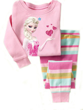 2017 new hot Cartoon elza anna Baby clothes Kids Girls Polka Nightwear Pajamas Set Sleepwear Homewear Girls Clothing Set