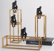 Thinking Rodin скульптура постмодерн Thinker маленькие черные статуэтки металлическая рамка из нержавеющей стали домашний Декор украшение для комна...