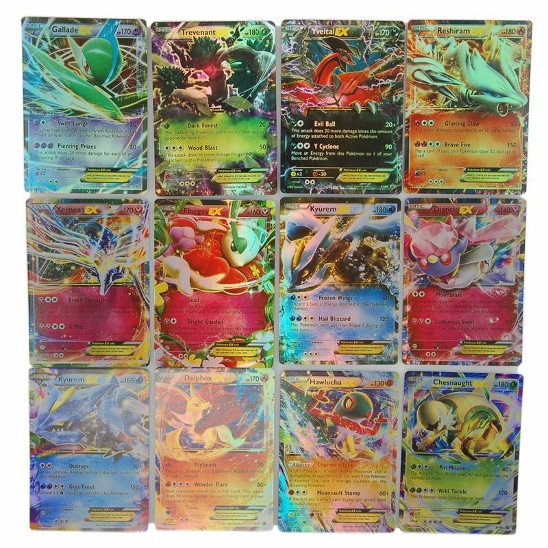 60 piezas 100 piezas Pokemons tarjetas EX Tarjeta de comercio XY juegos edición inglés Anime GX monstruos tarjetas MEGA niños Juguetes