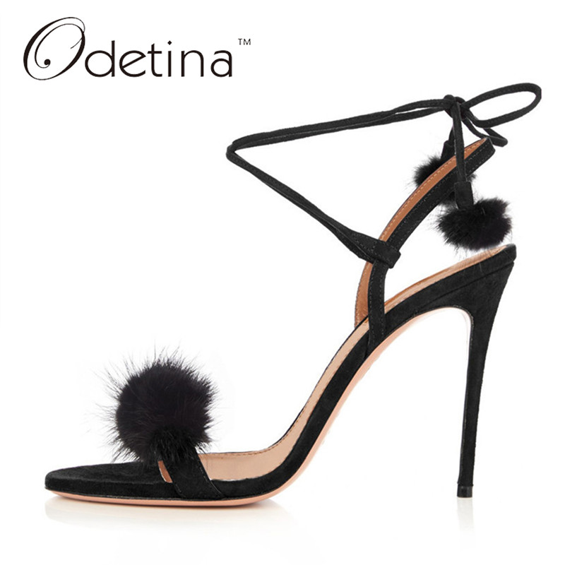 Odetina 2017 New Brand Fashion Fur Sandals Women Stiletto High Heels Lace Up Ankle Strap Sandals Sexy Party Shoes Big Size 33-43