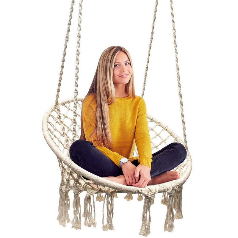 Aggressive Ins Style Swing Chair Swing With Hanging Hook 110kg Capacity Macrame Cradle For Indoor Yard Outdoor Garden For Sale Deck Patio