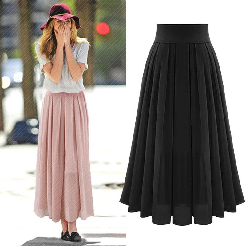 2016 The Latest Ladiesu0026#39; Summer Elegant Long Chiffon Skirt bust Long Skirt Plus Size-in Skirts ...