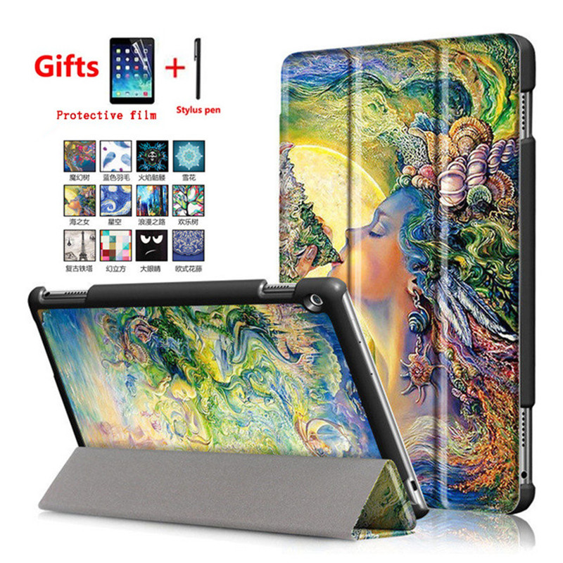 Painted PU Leather Stand Case For Huawei MediaPad M3 Lite 10 BAH-W09 BAH-AL00 10.1 Inch Tablet Protective Cover+Screen Film+Pen