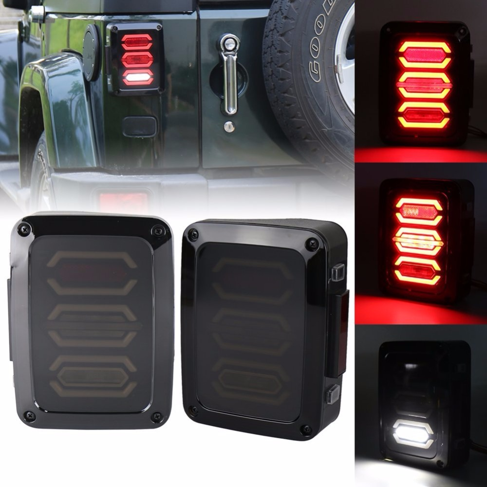 Free Shipping Smoke Diamond LED Tail lights for Jeep Wrangler JK Brake Reverse Turn Signal Lamp Rear Parking Stop Back Up Lamp 1pair led side maker lights for jeeep wrangler amber front fender flares parking turn lamp bulb indicator lens