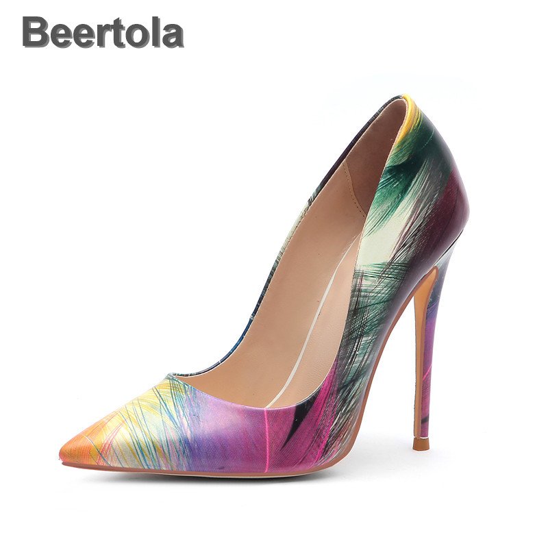 Multicolor Pointed Spring Woman Shoes Sexy Hot Sale Shallow Party Shoes 6-12Cm High Heels With Feathers Print Lady Comfort Shoes