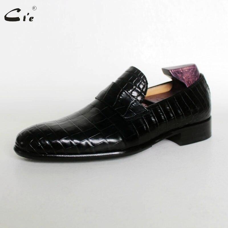 Cie 라운드 발가락 페니 송아지 가죽 양각 악어 디자인 블랙 라이트 보트 신발 수제 블레이크 통풍 남성 가죽 loafer173-에서남성용 캐주얼 신발부터 신발 의  그룹 2