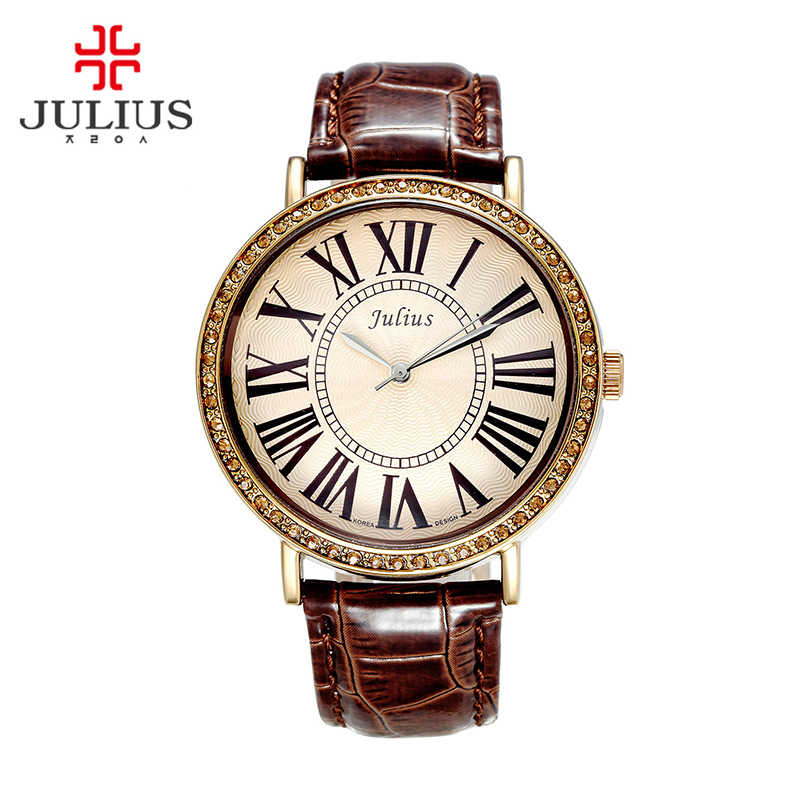 Top Julius Lady Women's Watch Retro Rhinestone Fine Fashion Large Hours Dress Bracelet Leather Big Girl Birthday Gift Box real functions julius shell women s watch isa mov t hours clock fine fashion bracelet sport leather birthday girl gift box