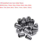 15pcs/Lot ER20 Spring Collet Set for CNC Engraving Machine and Milling Lathe Tool 1-13mm