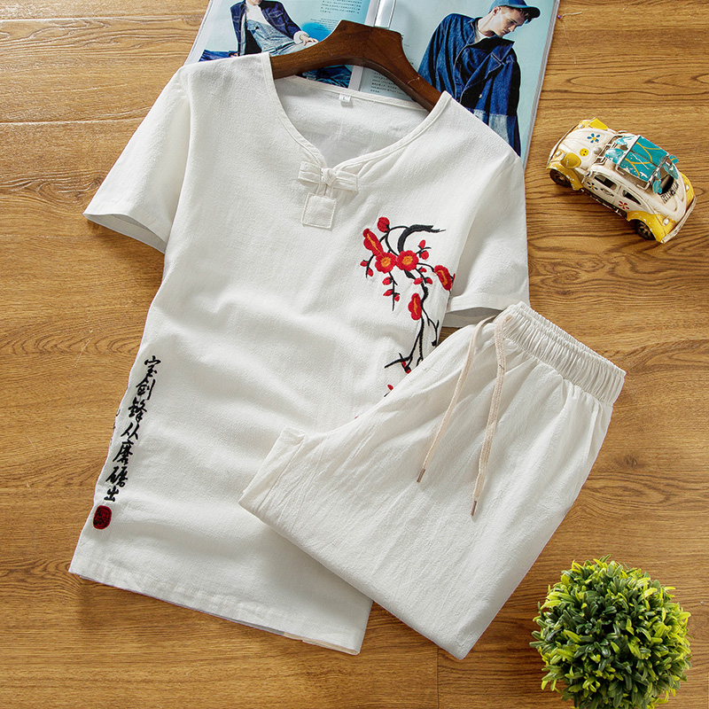 NEW Summer Linen Set Cotton Men T-shirt Slim Short-sleeved Solid Color Casual Shorts M-5XL Men's Printing Clothing 2 Pieces Set