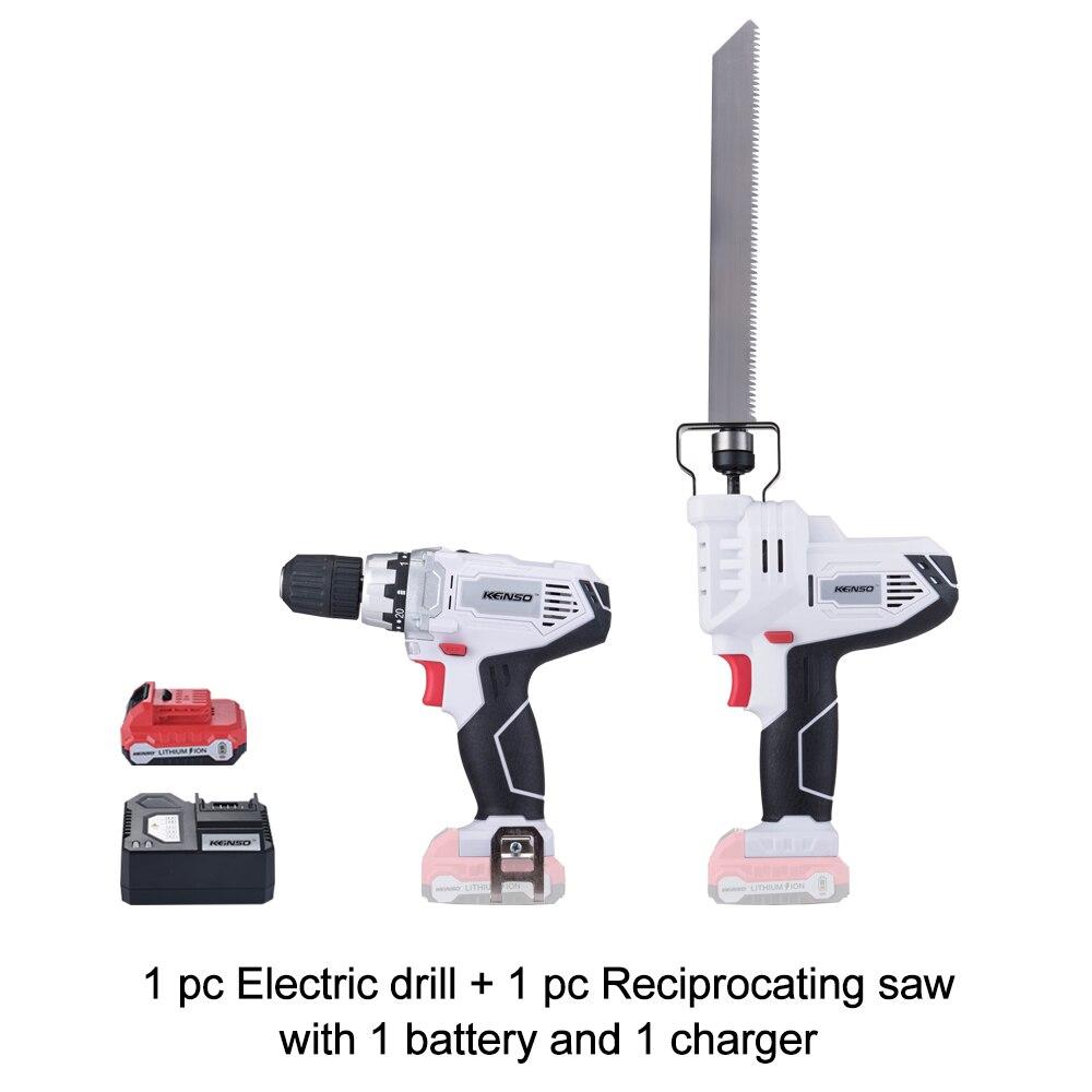 Keinso/newone 12 V outils électriques scie alternative et perceuse électrique avec une batterie au lithium et un chargeur