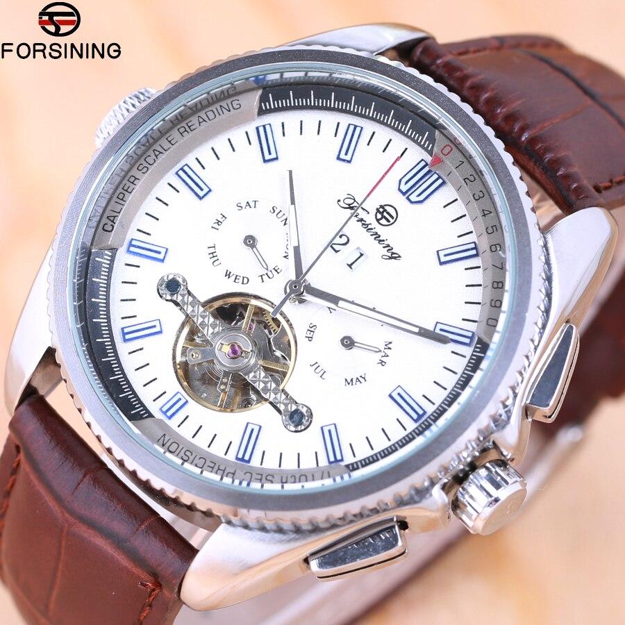 2018 Forsining Automatic Mechanical Mens Watch Top Brand Luxury tourbillon clock leather Casual business wristwatch Montre Homme все цены
