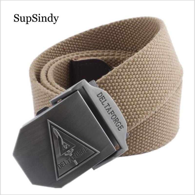 SupSindy Men&women Canvas Belt DELTA FORCE Metal Buckle Waistband Military Belt Army Tactical Belts For Men Vintage Strap Male