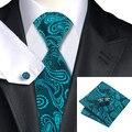 2016 de Seda Clássico Jacquard Paisley Tie Cufflink Hanky Set Gravata Azul-verde Laços de Casamento Para Homens de Negócios C-1045