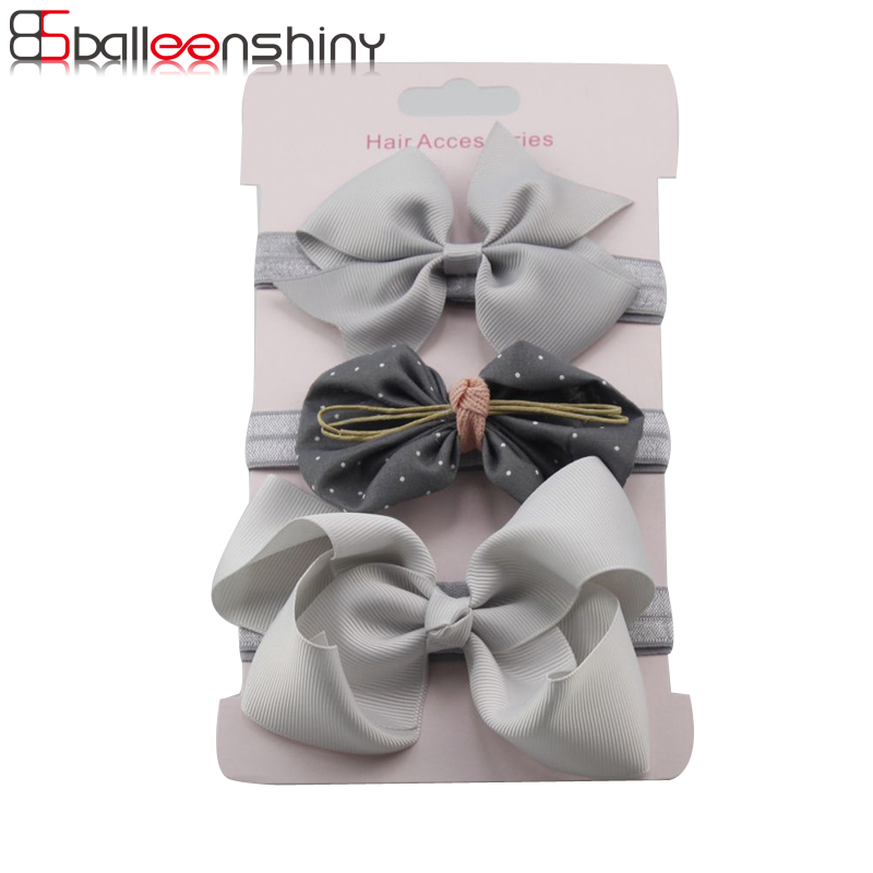 BalleenShiny 3PCS/lot Flower Bowknot Headbands Baby Girls Fashion Lovely Hair Band New Style Children Headwear Gift Accessories
