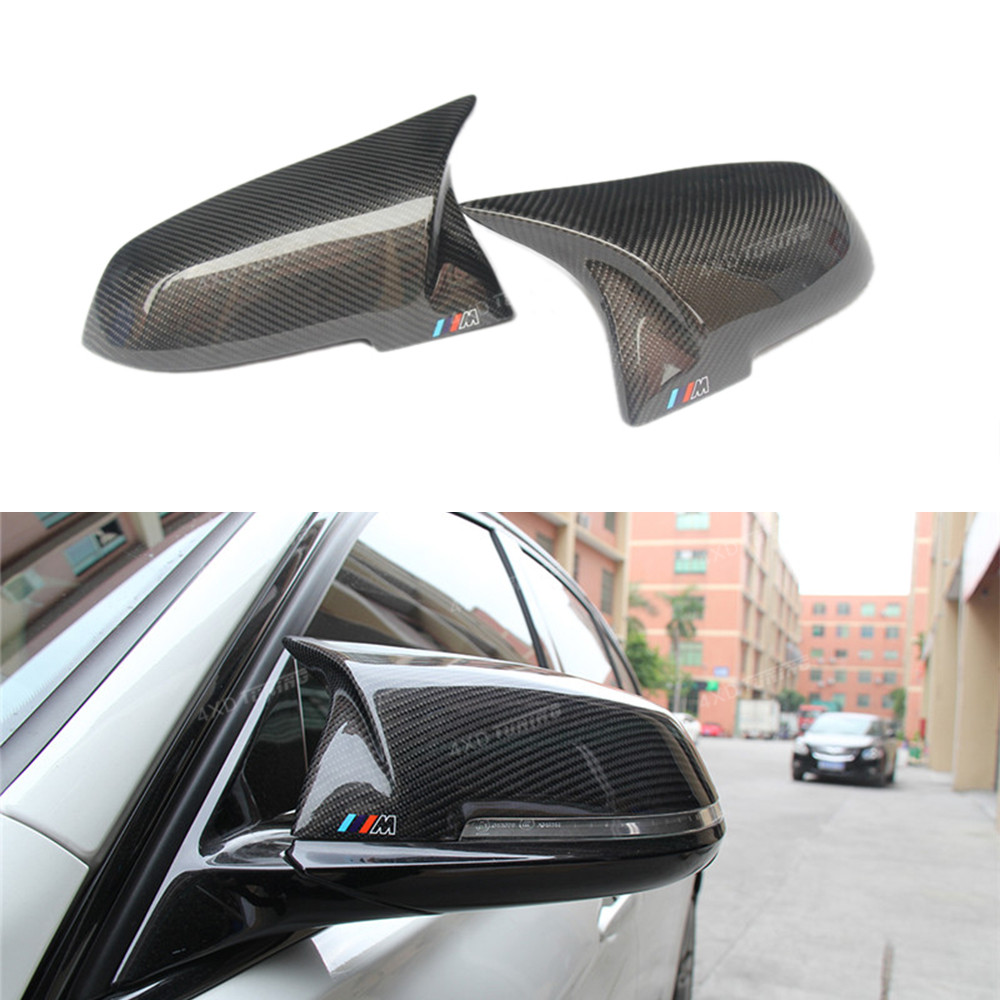 For BMW F30 F20 Mirror Cover AN Style 2 3 4 Series F22 F32 F33 F36 Carbon Fiber Rear View Mirror Cover 2012 2013 2014 2015 2016+ for ford mustang 2008 2009 2010 2011 2012 2013 add on style carbon fiber rear view mirror cover black finish