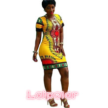 2018 Summer Dress Women Plus Size African Dresses For Dashiki Short Sleeve Print Mini Sheath Bandage S-3XL D28-F77