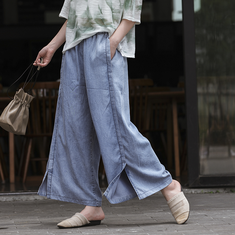 Summer Jeans Women Fashion Loose Casual Denim Pants 2019 New Ladies Elastic Waist Drawstring pocket Casual Denim Trousers(China)