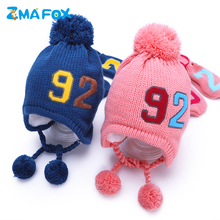 ZMAFOX baby hat scarf suit with pompoms children kids winter neck warmer beanie caps spring knitted pom hats for boys girls