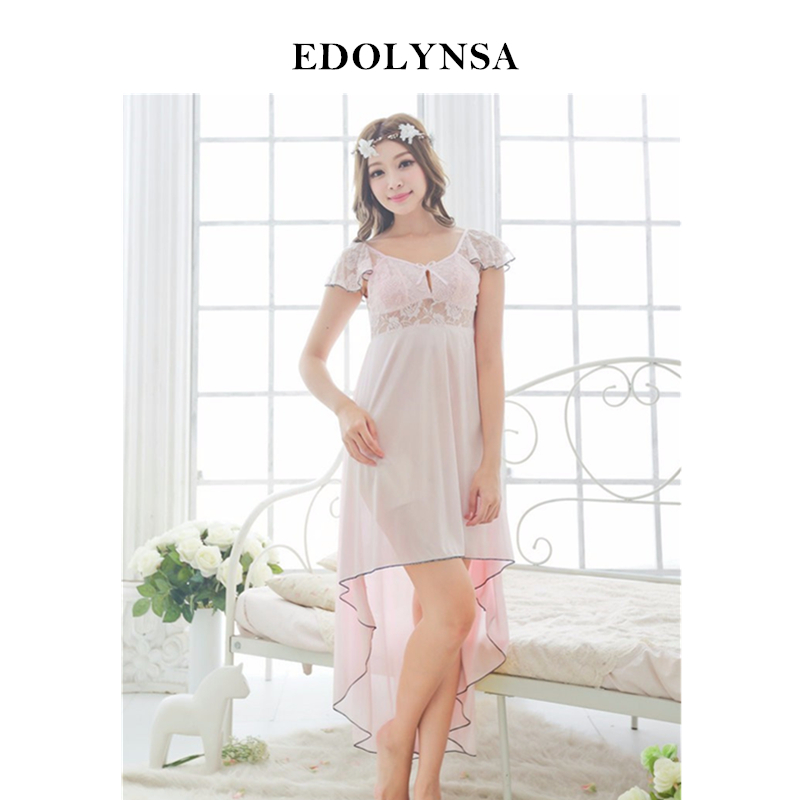 New Arrivals Lace   Nightgowns     Sleepshirts   Solid Sleepwear Sexy   Nightgown   Female Soft Home Dress Vintage Cute   Nightgown   #H167