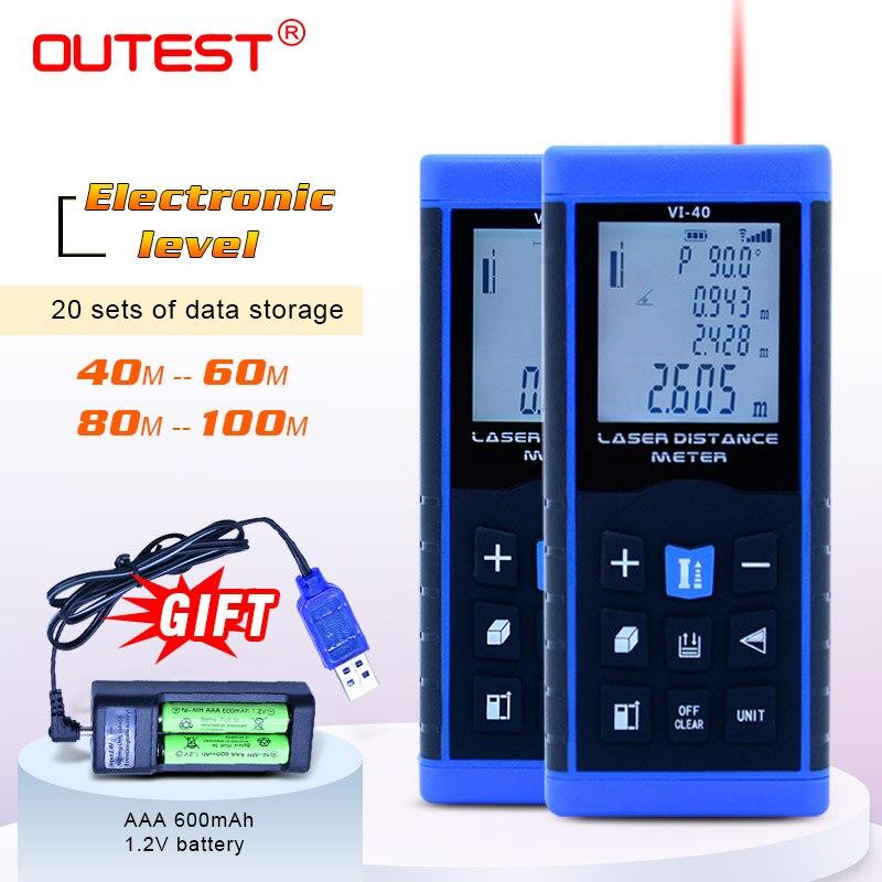 OUTEST Digital laser distance meter 40m/60M/80M/100M laser rangefinder measurer tape trena electronic level +battery for GIFT цена