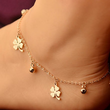 Rose Gold Plated Lucky Clover Pendant Anklet 316L Stainless Steel Bells Foot Chain Summer Beach Accessories