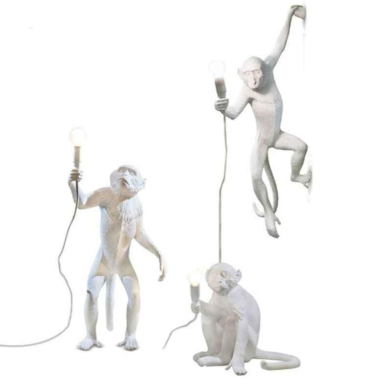 Ретро обезьяна подвесной светильник для смолы белая лампа в форме обезьяны Лофт винтажный веревочный подвесной светильник для дома Кафе Ретро подвесной светильник s