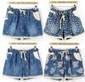 2016 Sexy Mulheres Denim Shorts Das Senhoras Shorts Jeans impressão rendas Jean Calça Casual mulheres plus size Calças Curtas