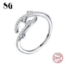 SG 925 Sterling Silver Tree Leaves Rings with adjustable Open Size ring for Women fashion White CZ rings wedding jewelry gifts storage box bamboo bread box bins with cutting board double layers food containers big drawer kitchen organizer home accessories