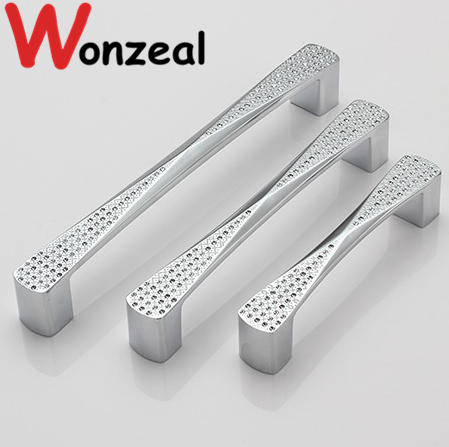 Hole Pitch 96mm/128mm/160mm Crystal silver chrome finished Furniture Handle Cabinet Knobs drawer Pull for kitchen cupboard dia 10mm stainlees steel 304 t style hole pitch 64mm 96mm 128mm 160mm 192mm furniture handle drawer handle cabinet knobs