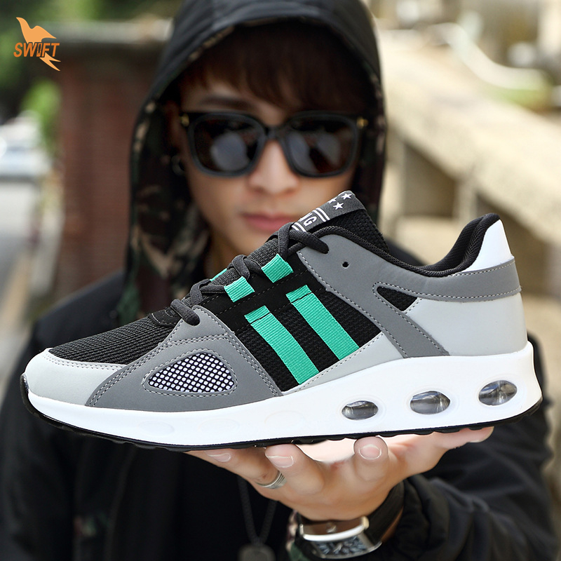 2018 Air Cushion Breathable Mesh Running Sports Shoes for Men Outdoor Jogging Walking Fitness Boots Lightweight Lace Up Sneakers
