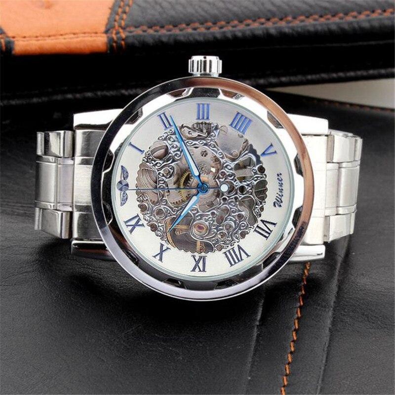 Men s Watch Skeleton Dial Strap Hand Wind font b Mechanical b font watch Stainless Steel