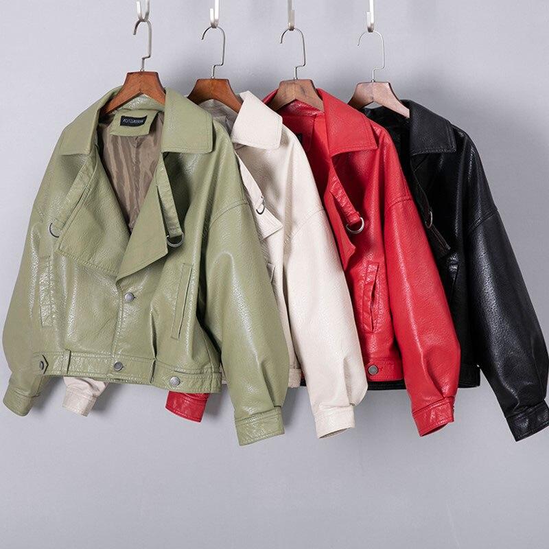 New 2019 Faux   Leather   Jacket Women Turn-down collar Casual PU   Leather   Jackets Female Short Loose Biker Coat Outwear