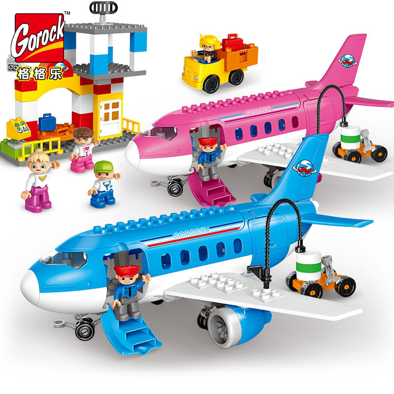 GOROCK Large Size 82Pcs Happy Plane Flight Travel Building Block Figure Sets Compatible Legoings Duploe Brick Toys For Kids Gift