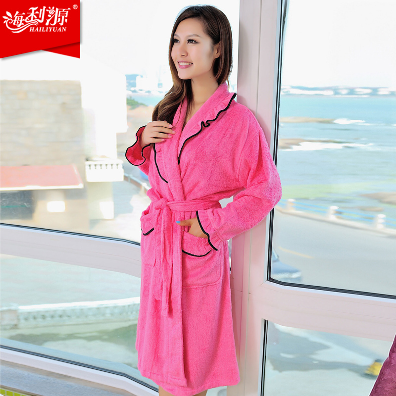 947b3f34a7 women s bathrobe thickening long design robe waste absorbing sleepwear dressing  gown bathrobe terry-in Robes from Women s Clothing   Accessories