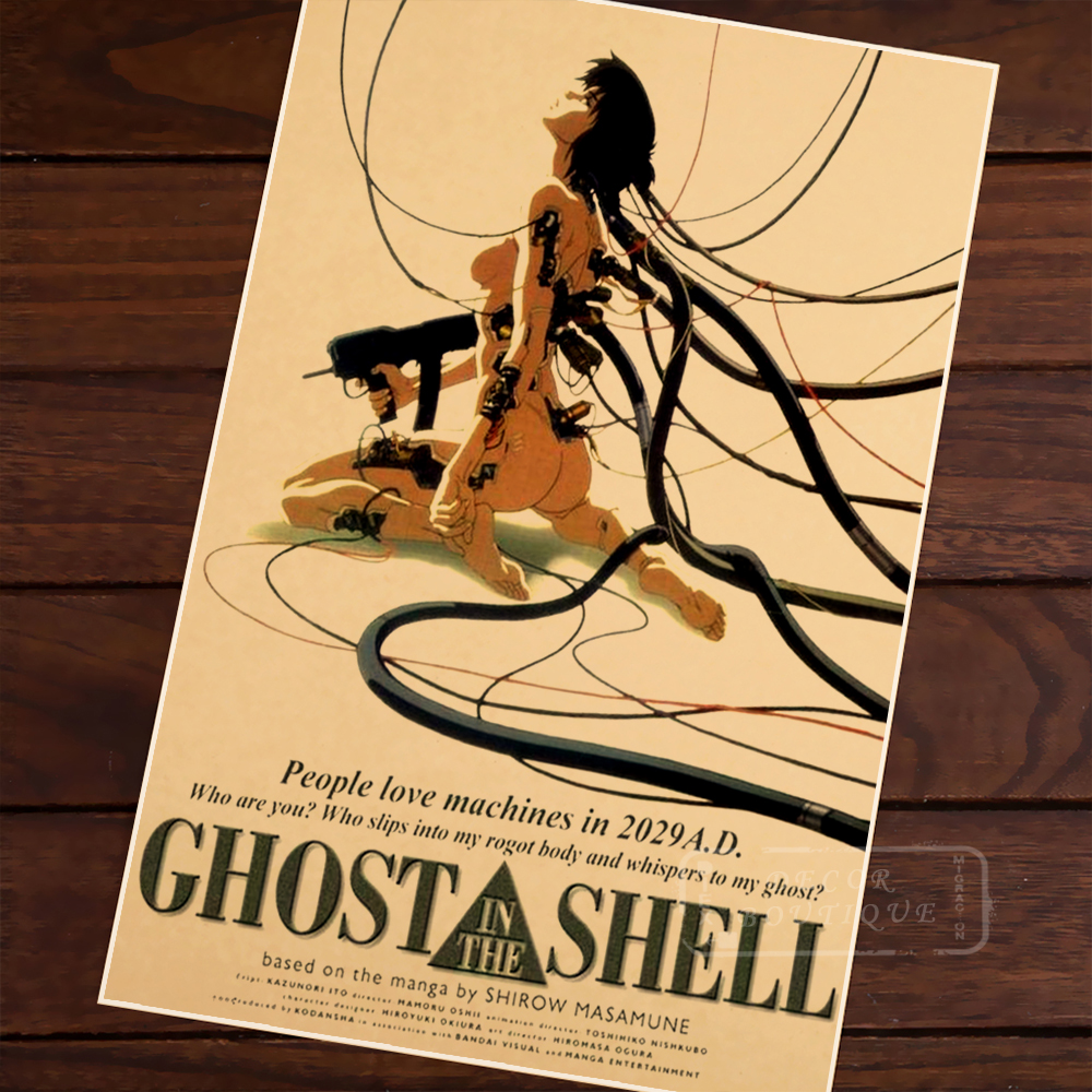 <font><b>Ghost</b></font> <font><b>In</b></font> <font><b>The</b></font> <font><b>Shell</b></font> Machine Cartoon Anime Vintage Retro Canvas Alloy Wood Frame Poster DIY Wall Home Posters Home Decor Gift image