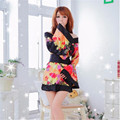 Summer Sexy Black Women's Robe Satin Rayon Print Nightgown Mini Sleepwear Kimono Bath Gown Flower  Black\white