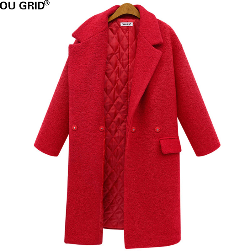 Women's Autumn Winter Coat 2017 New Arrival Red&Black Solid Long Sleeve Turn-down Coat With Pocket