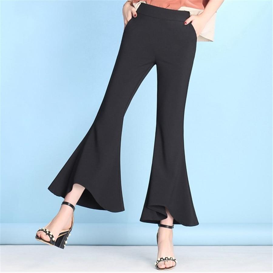 High Waist Flare   Pants   Women Spring Summer RuffledElastic Nine Boot Cut   Pants   Female Plus Size Irregular   Pants     Capris   Ds50530