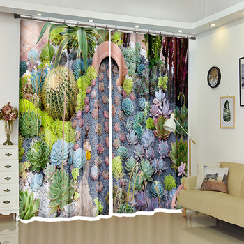Custom size Cafe Office 3D Blackout Window Curtain Green Cactus plants Pattern Thicken Polyester Bedroom Curtain for Living Room